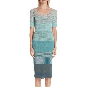 MISSONI Aqua Knit Body Con Midi Dress NWT $1595